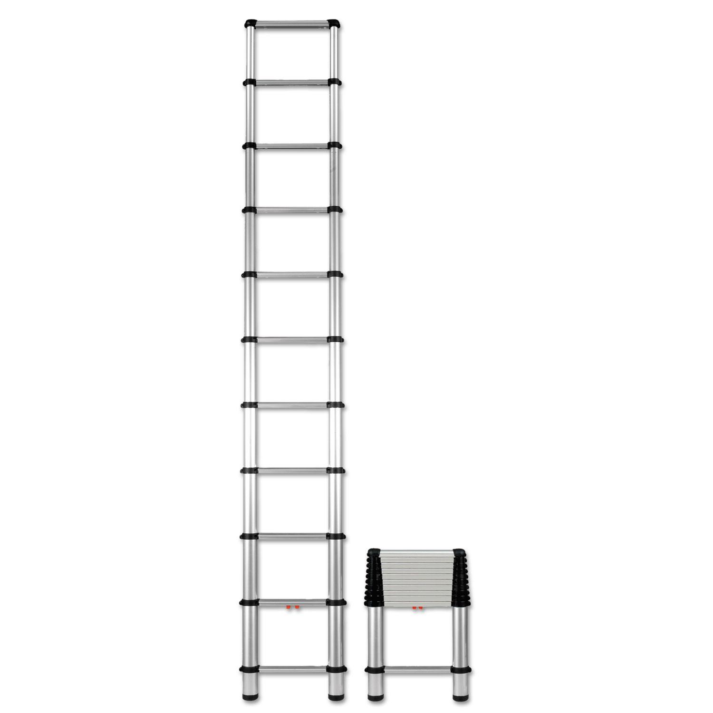 Telescopic Extension Ladder, 14 ft, 250lb, 10-Step, Aluminum