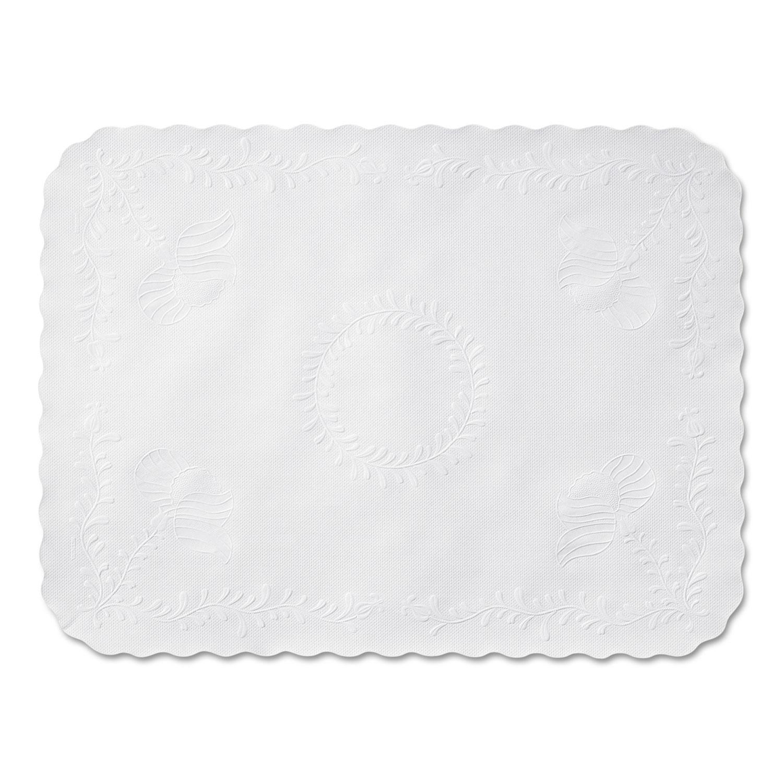 Scalloped Edge Traymat, Bond Paper, White, 16.63 x 12.75, 1,000/Carton