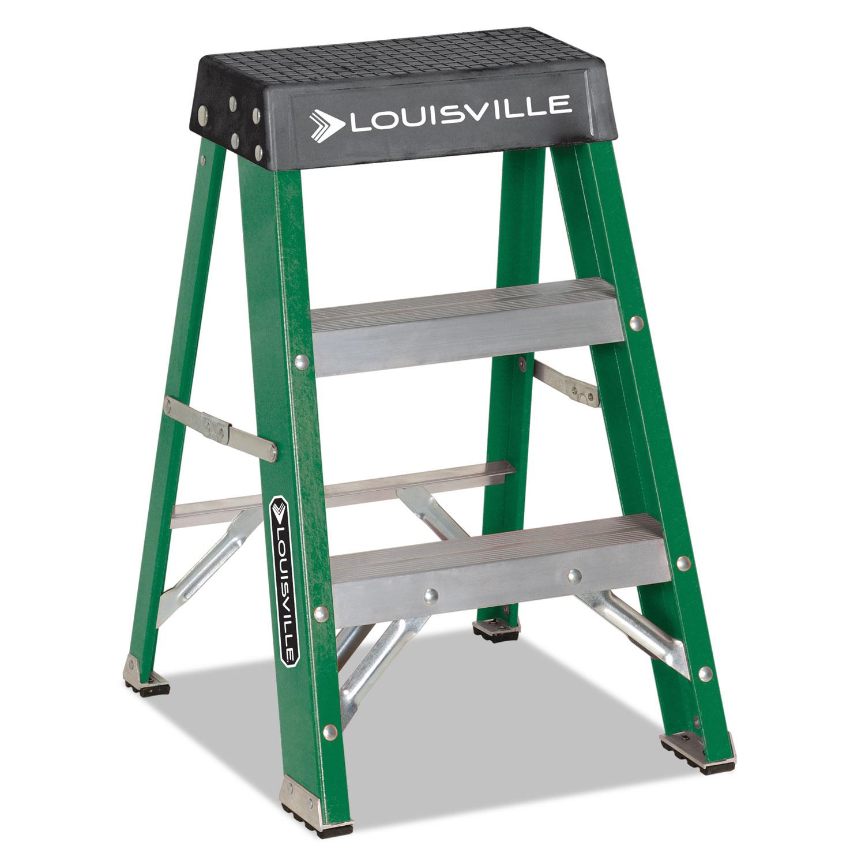 #624 Folding Fiberglass Locking 2-Step Stool, 17w x 22 Spread x 24h, Aluminum/Green/Yellow