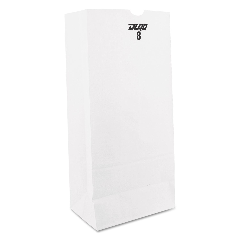 #8 Paper Grocery Bag, 35lb White, Standard 6 1/8 x 4 1/6 x 12 7/16, 500 bags