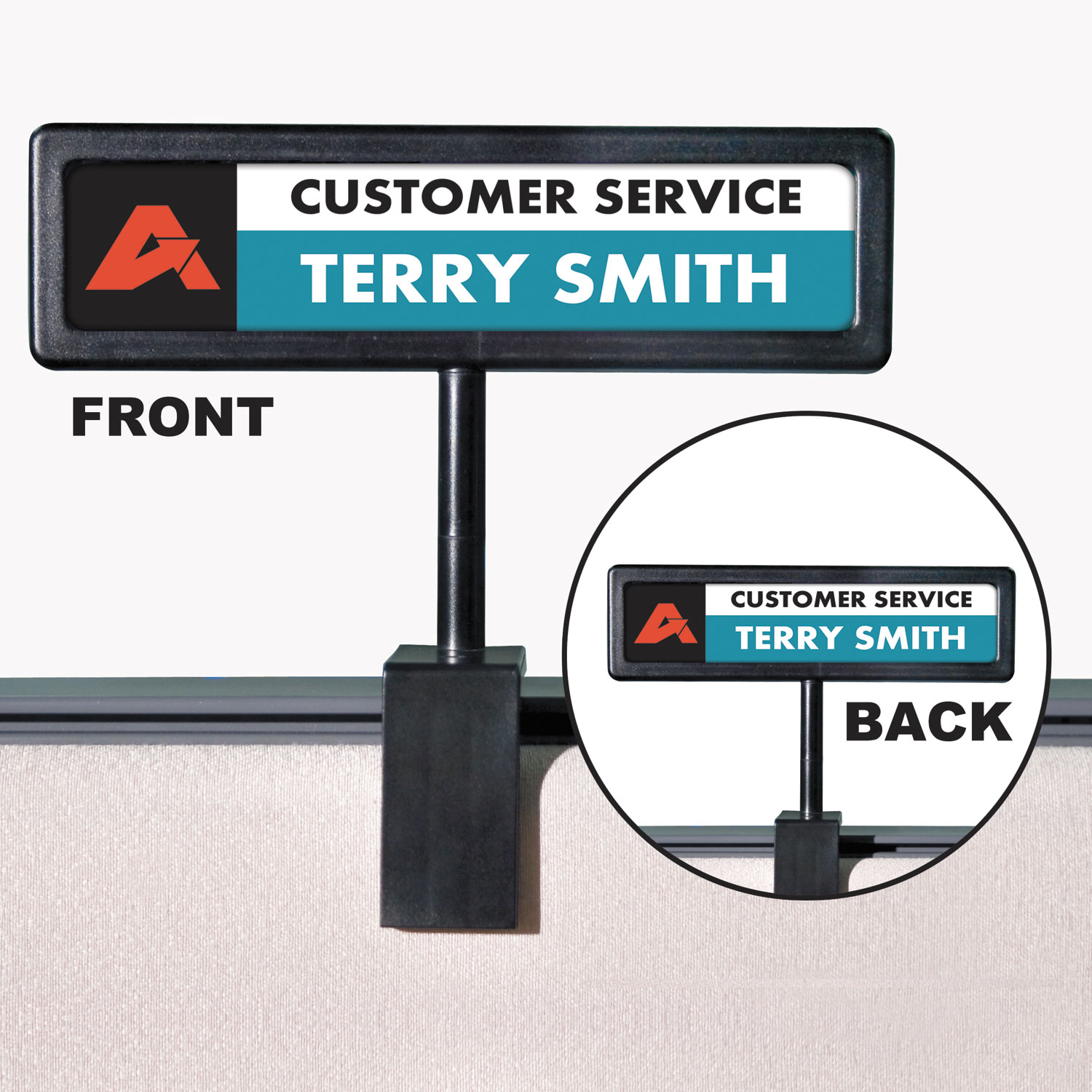 People Pointer Cubicle Sign Plastic 8 5 X 2 Black Reliable Paper