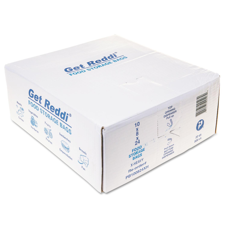 """Food Bags, 22 qt, 1.2 mil, 10"""" x 24"""", Clear, 500/Carton"""