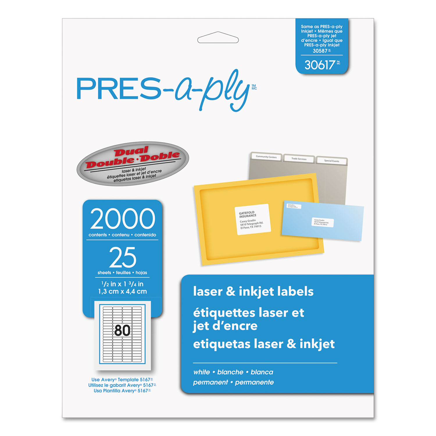 Labels, Laser Printers, 0.5 x 1.75, White, 80/Sheet, 25 Sheets/Pack
