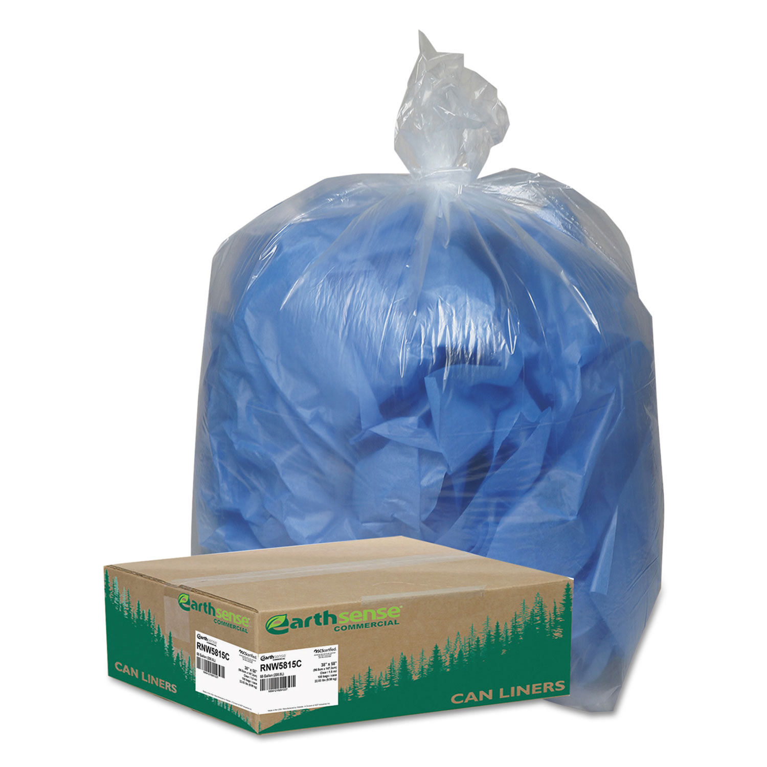 """Linear Low Density Clear Recycled Can Liners, 60 gal, 1.5 mil, 38"""" x 58"""", Clear, 100/Carton"""