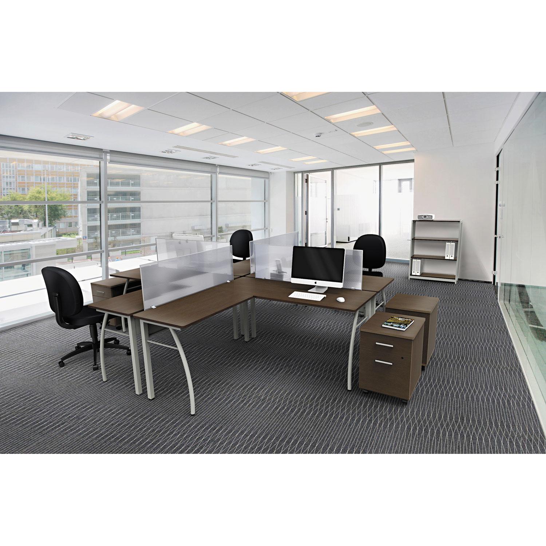 To Line L Shaped Desk 59 1 8w X 8d 29 2h Mocha Gray