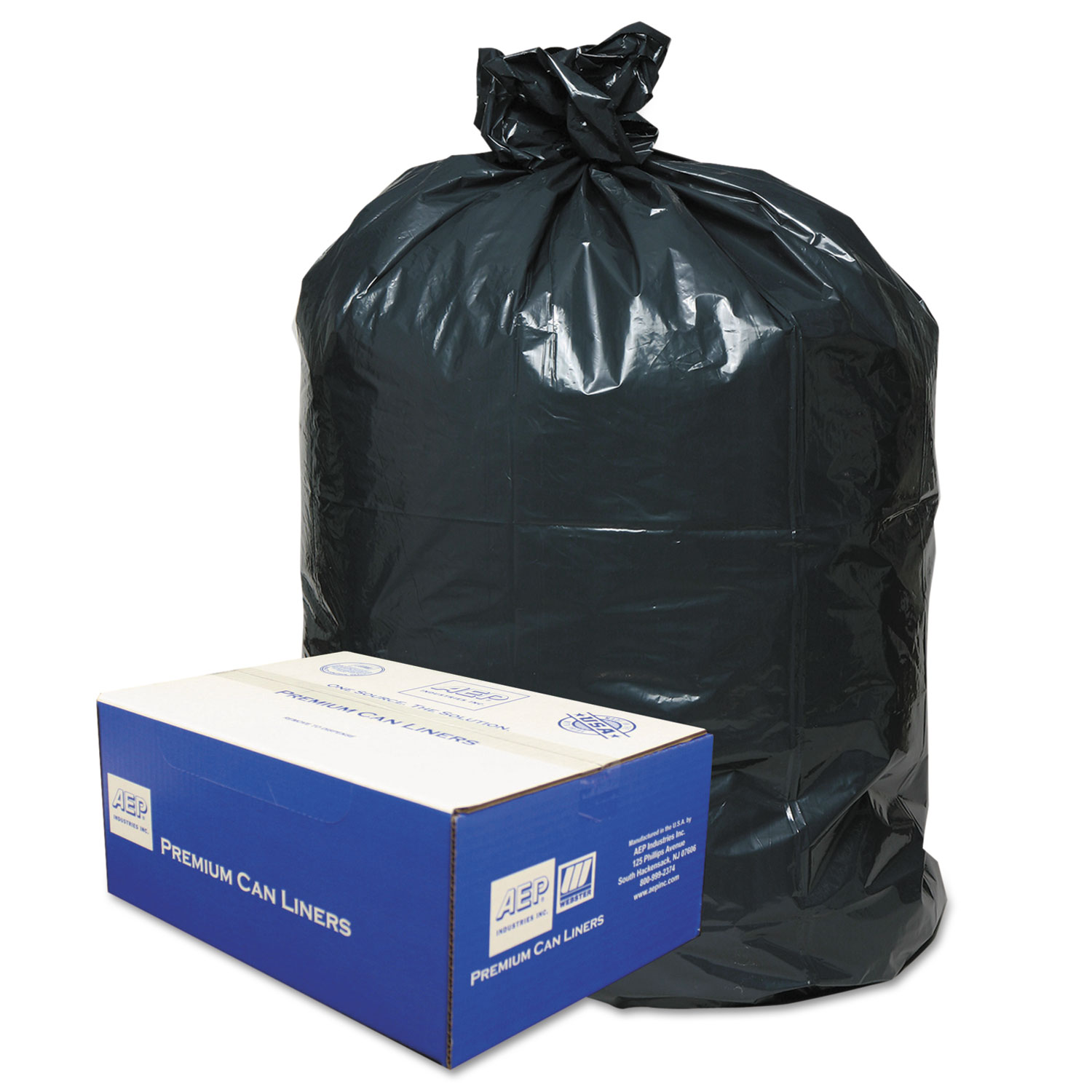 """Linear Low-Density Can Liners, 45 gal, 0.63 mil, 40"""" x 46"""", Black, 250/Carton"""