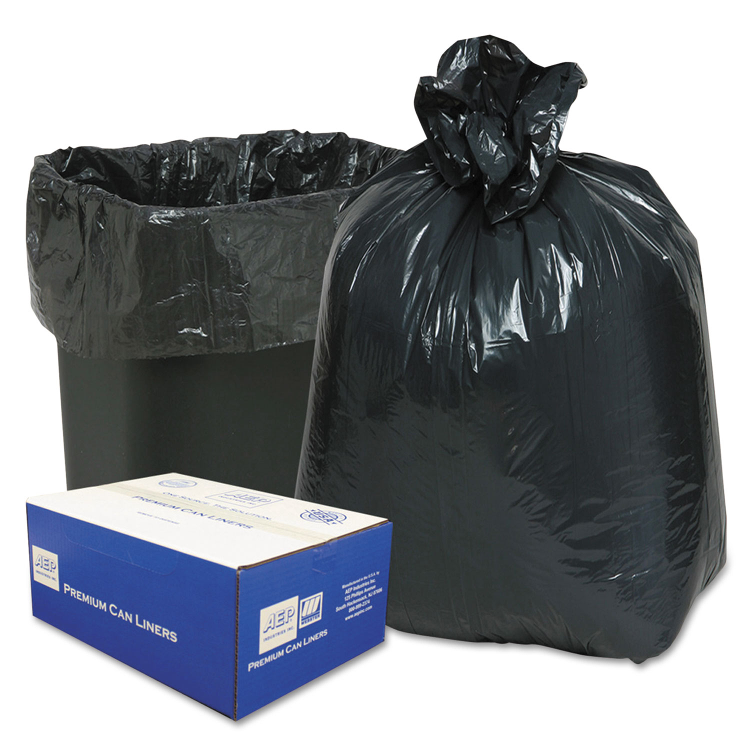 """Linear Low-Density Can Liners, 16 gal, 0.6 mil, 24"""" x 33"""", Black, 500/Carton"""