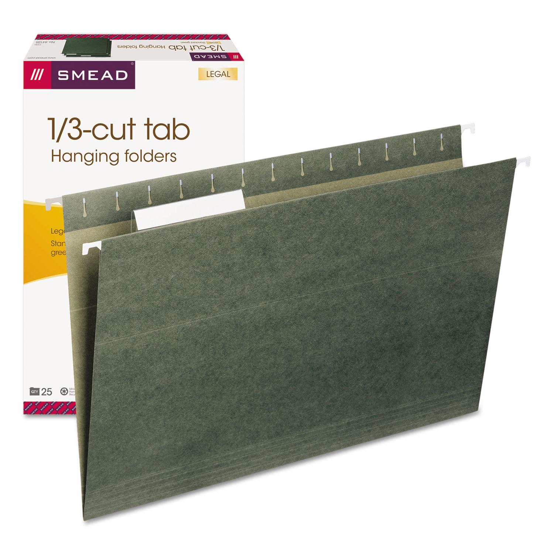 Hanging Folders, Legal Size, 1/3-Cut Tab, Standard Green, 25/Box