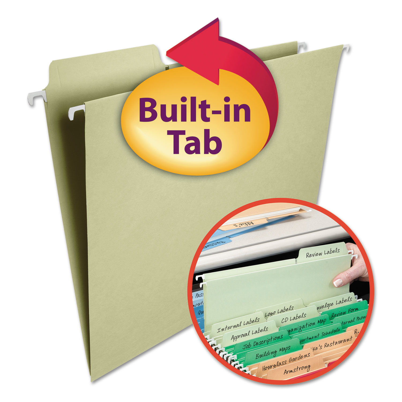 FasTab Hanging Folders, Letter Size, 1/3-Cut Tab, Moss, 20/Box