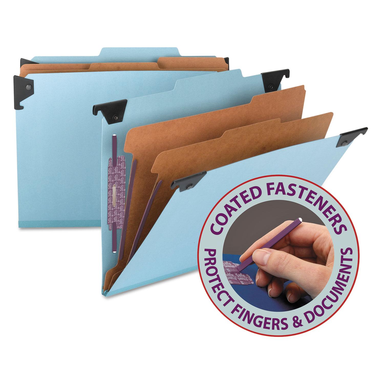 FasTab Hanging Pressboard Classification Folders, Letter Size, 2 Dividers, Blue