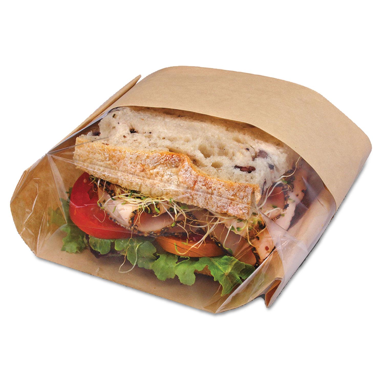 "Dubl View Sandwich Bags, 2.35 mil, 9.5"" x 2.75"", Natural Brown, 500/Carton"