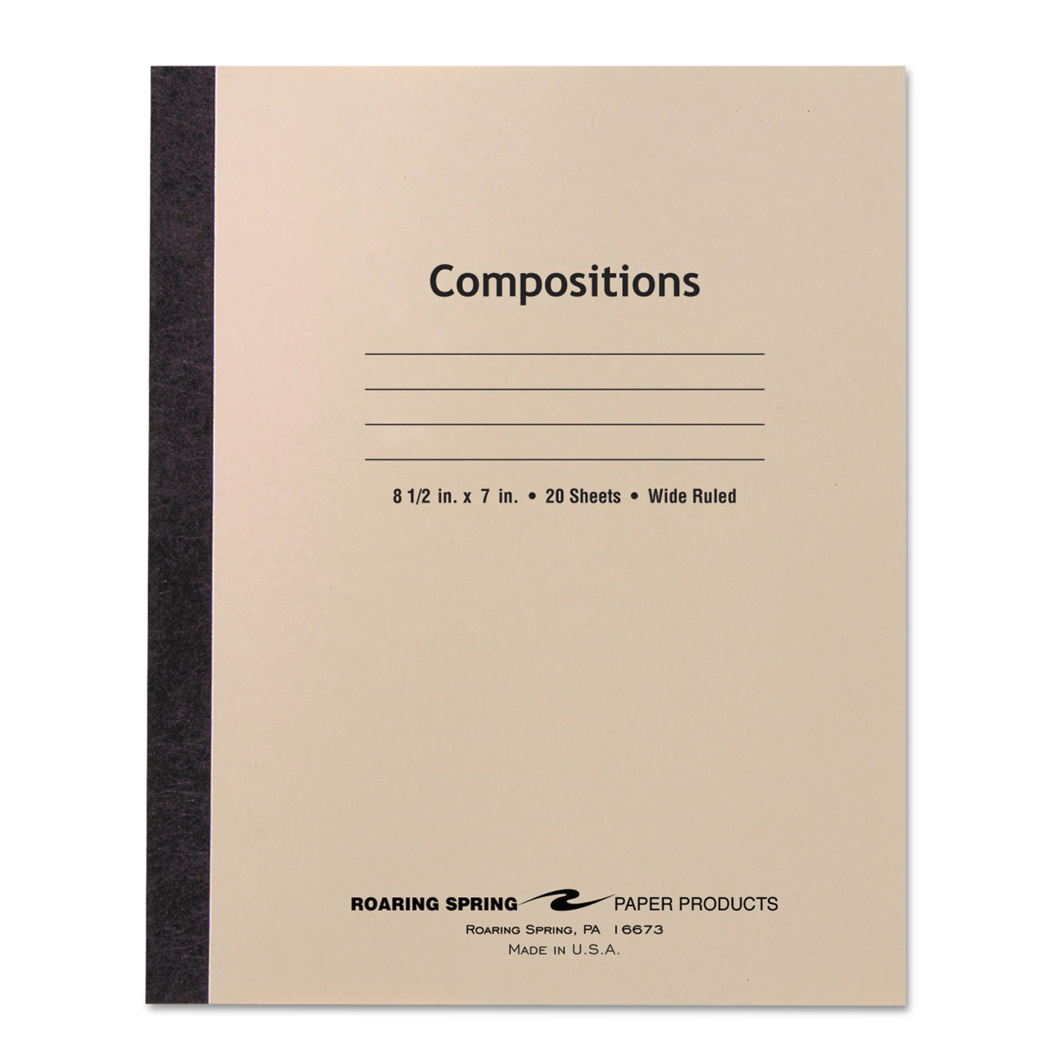 Stitched Cover Composition Book, Wide/Legal Rule, Manila Cover, 8.5 x 7, 20 Sheets
