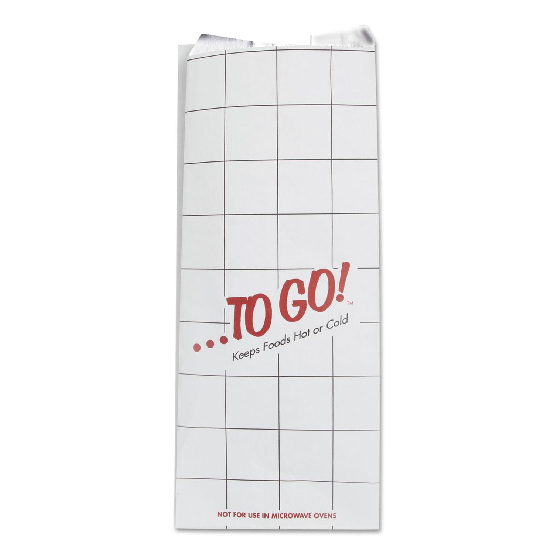 """ToGo! Foil Insulator Deli and Sandwich Bags, 6"""" x 14"""", White, To Go! Design, 500/Carton"""