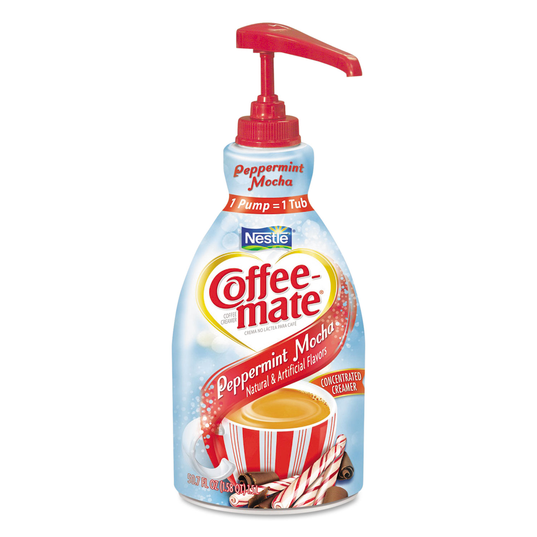 Liquid Creamer Pump Bottle, Peppermint Mocha, 1.5 L, 2/Carton