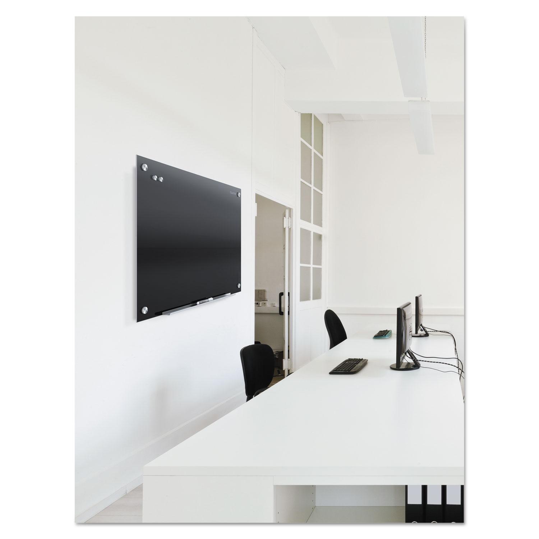 infinity black glass magnetic marker board by quartet. Black Bedroom Furniture Sets. Home Design Ideas