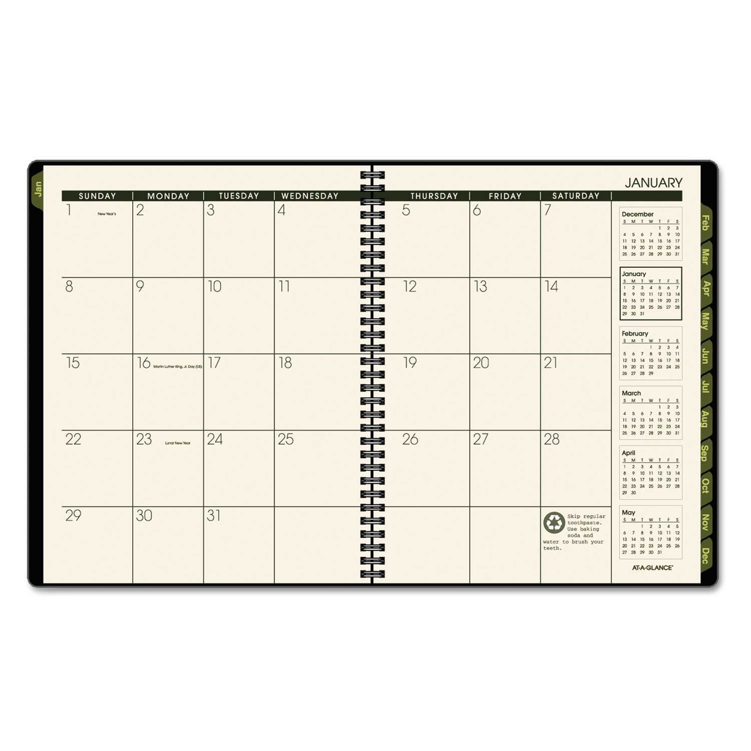 Recycled Weekly/Monthly Classic Appointment Book, 6 7/8 X 8, Black, 2018