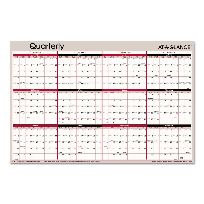 Calendar Quarterly : Vertical horizontal erasable quarterly wall planner by at