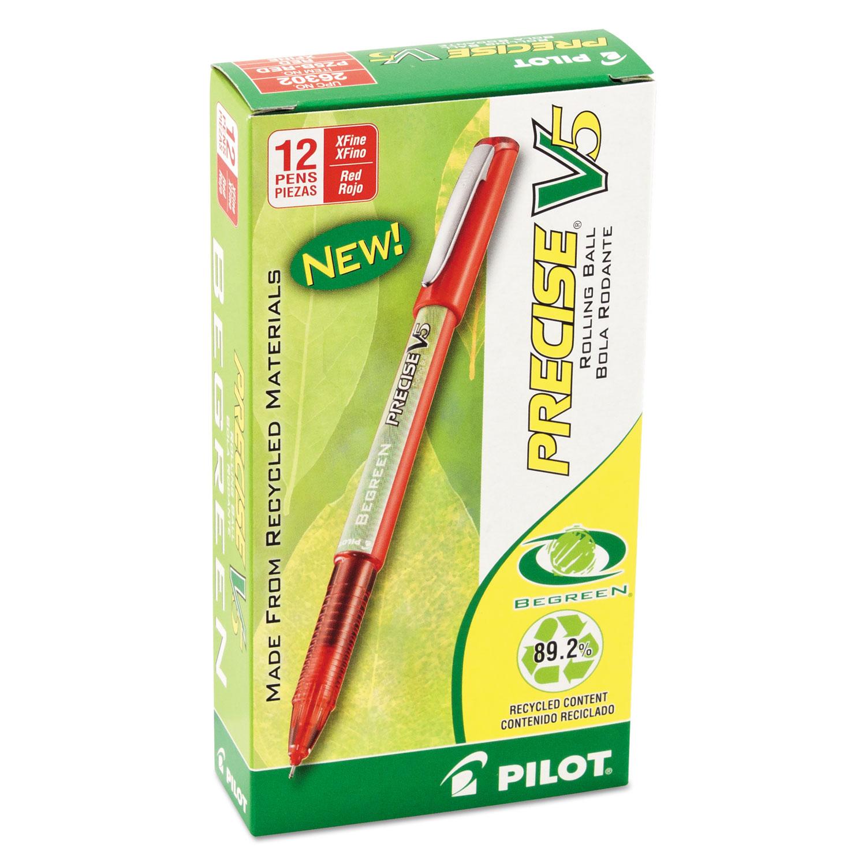 Precise V5 BeGreen Stick Roller Ball Pen, 0 5mm, Red Ink