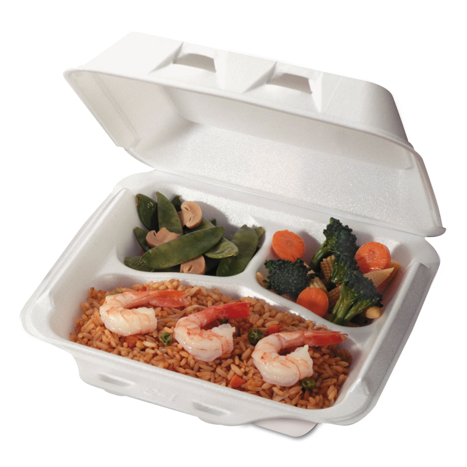 Foam Hinged Lid Containers, White, 7 1/2 x 8 x 2 5/8, 3-Compartment, 150/Carton