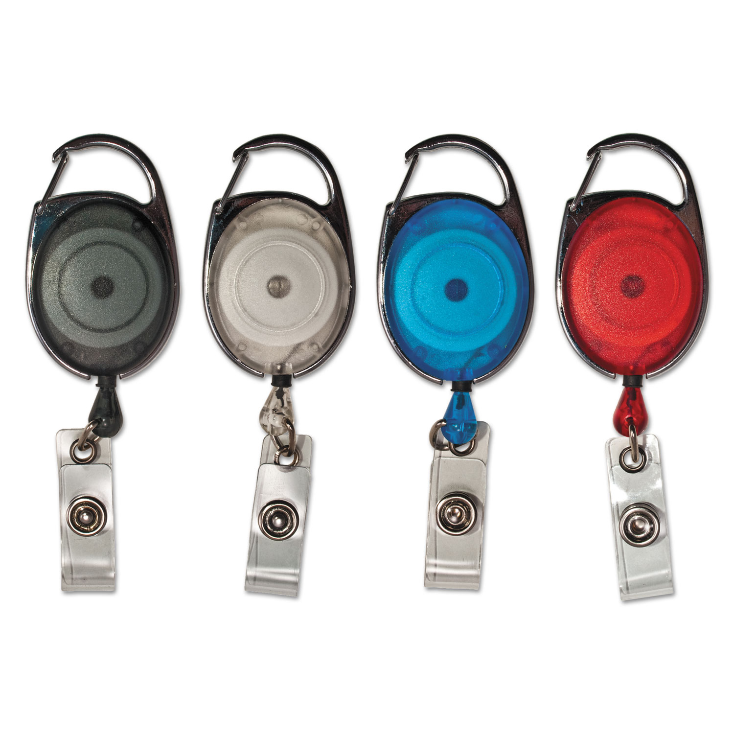 """Carabiner-Style Retractable ID Card Reel, 30"""" Extension, Assorted, 20/Pack"""