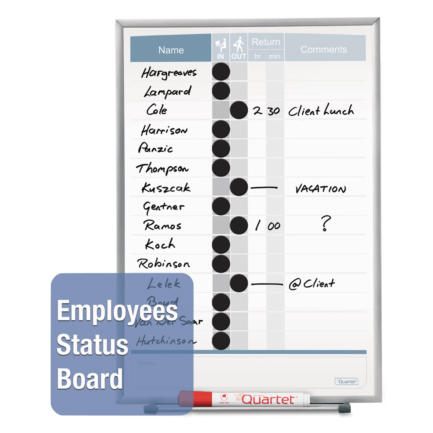 Vertical Matrix Employee Tracking Board by Quartet