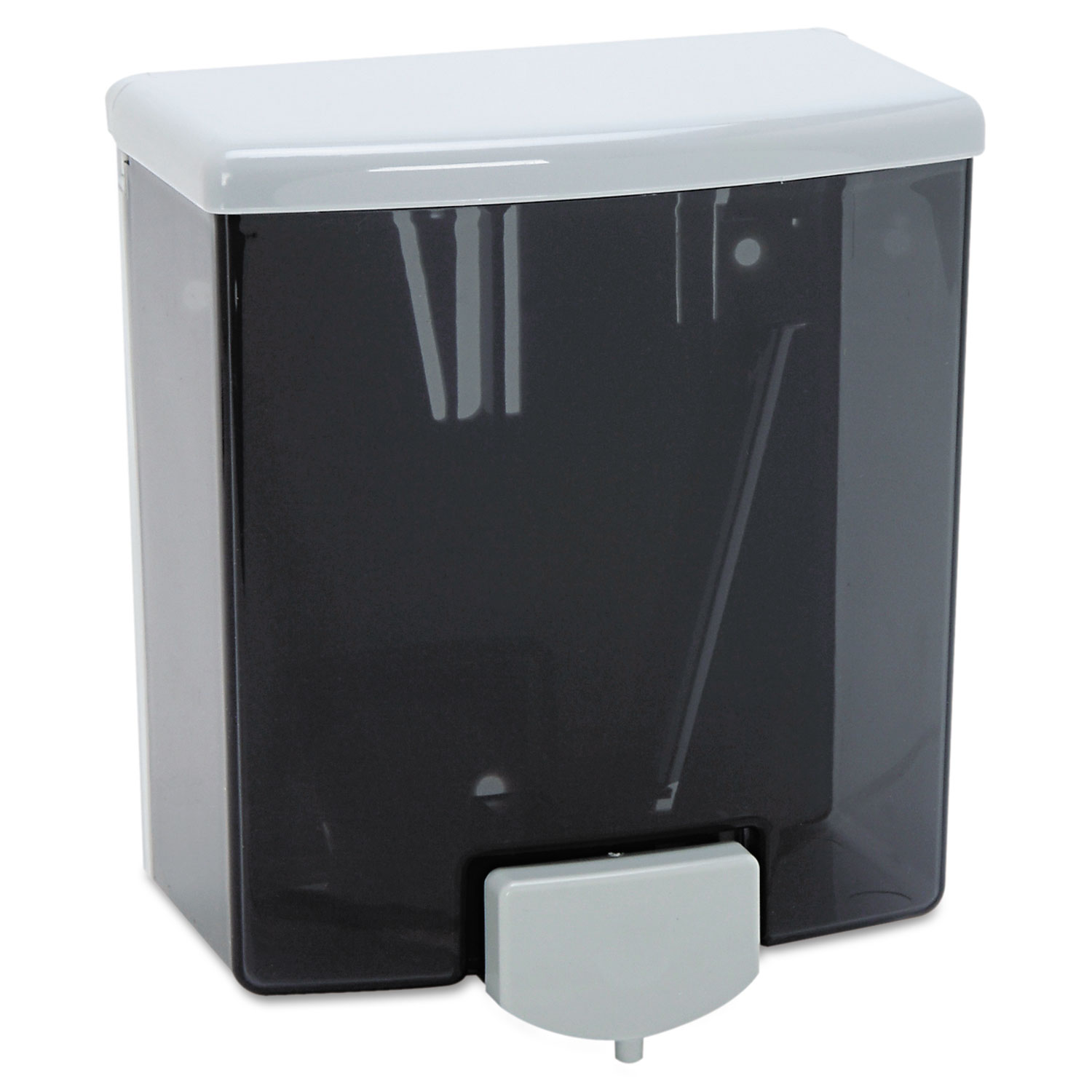 "ClassicSeries Surface-Mounted Liquid Soap Dispenser, 40 oz, 5.81"" x 3.31"" x 6.88"", Black/Gray"