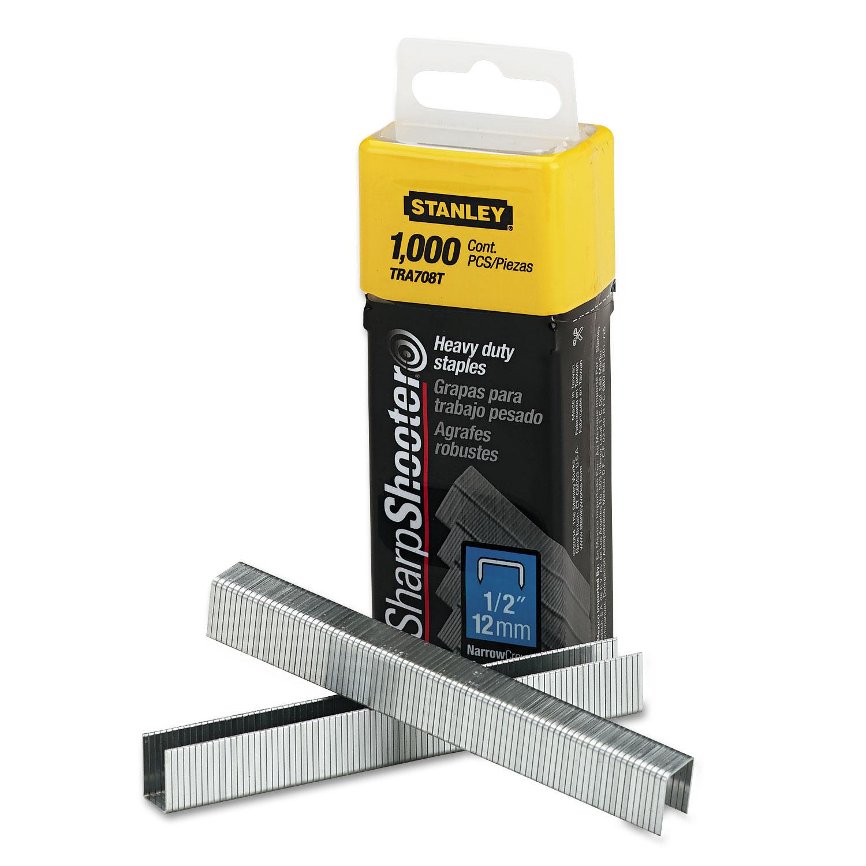 "SharpShooter Heavy-Duty Tacker Staples, 0.5"" Leg, 0.5"" Crown, Steel, 1,000/Box"