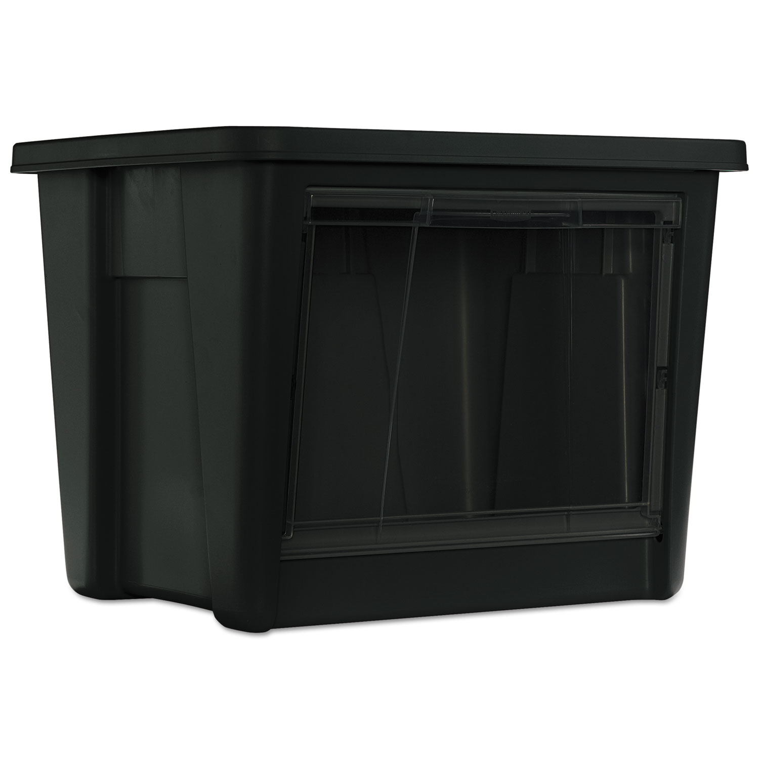 Roughneck Storage Box, 19 1/2 x 17 1/2 x 15 1/8, Black/Clear Front, 4/Carton