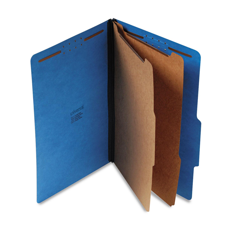 Bright Colored Pressboard Classification Folders, 2 Dividers, Legal Size, Cobalt Blue, 10/Box