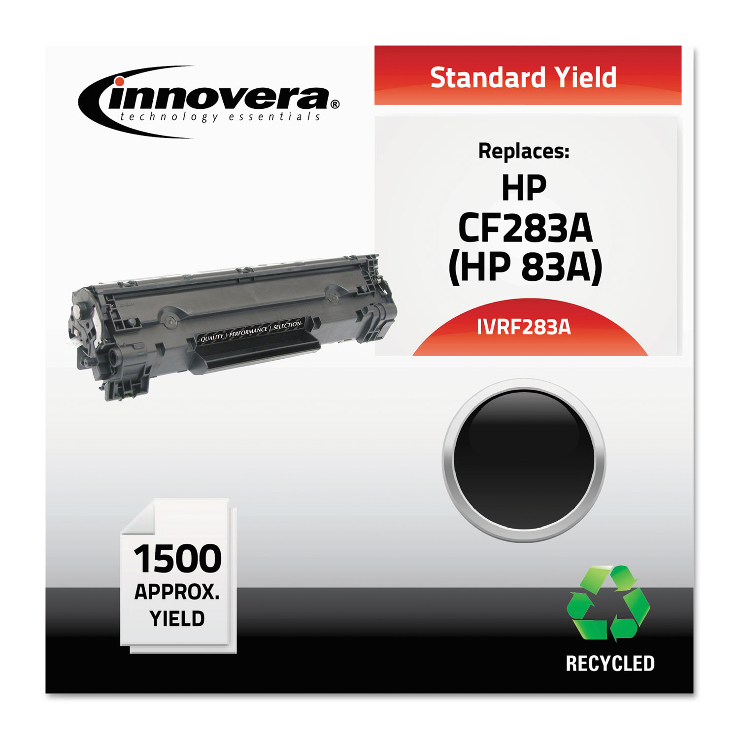 Remanufactured CF283A (83A) Toner, 1500 Page-Yield, Black