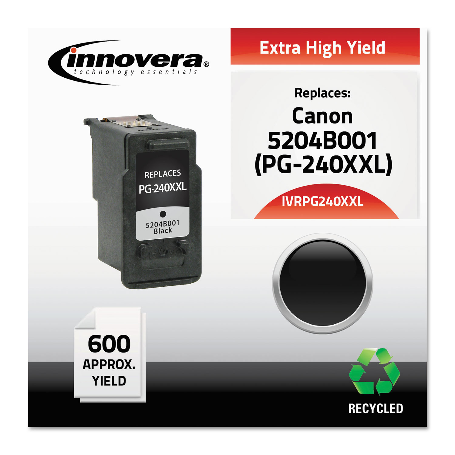 Remanufactured 5204B001 (PG-240XXL) Extra High-Yield Ink, 600 Page-Yield, Black
