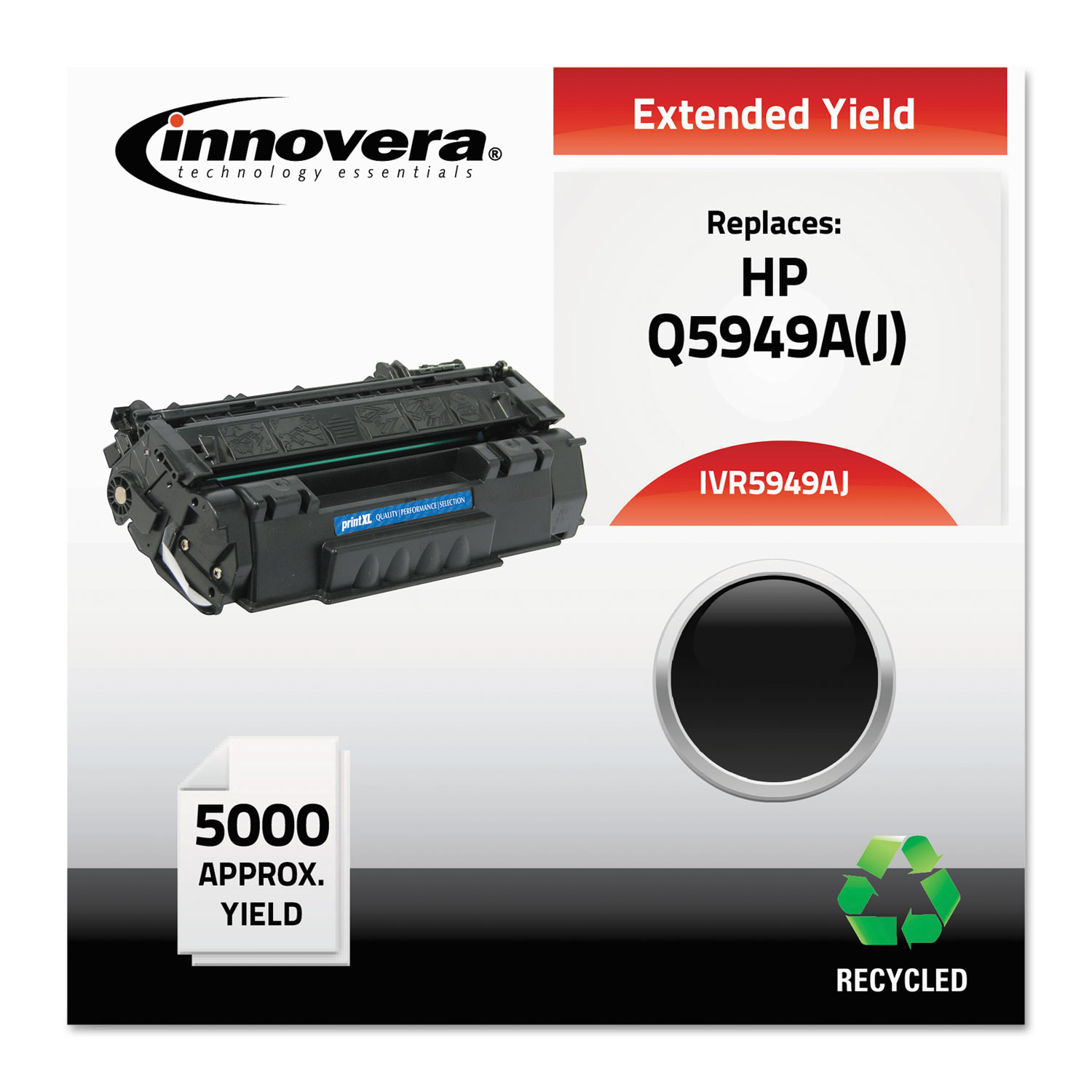 Remanufactured Q5949A(J) (49AJ) Extended-Yield Toner, 5000 Page-Yield, Black