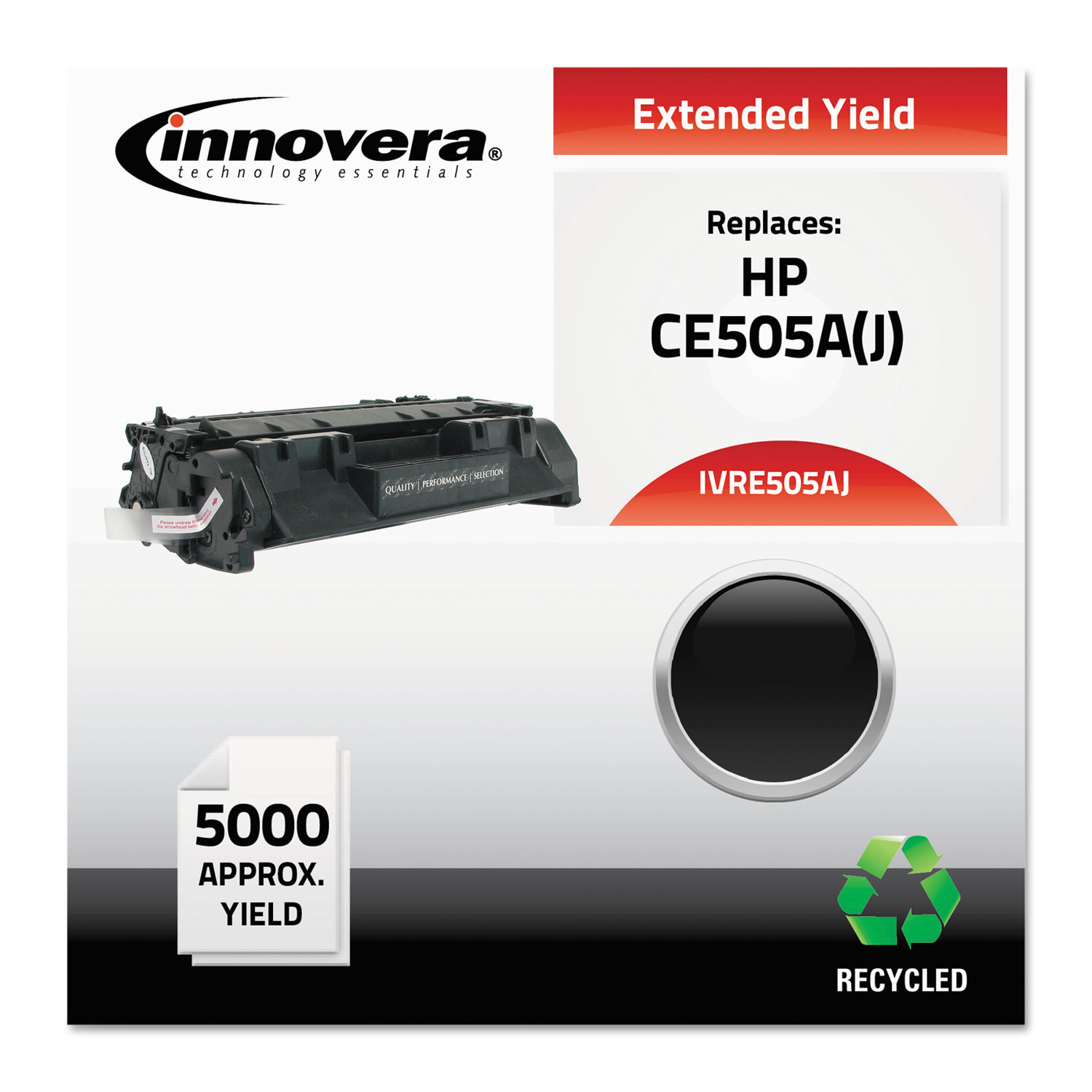 Remanufactured CE505A (05AJ) Extended-Yield Toner, 5000 Page-Yield, Black
