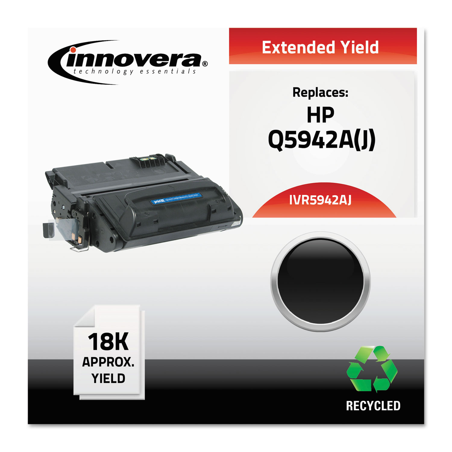 Remanufactured Q5942A (42AJ) Extended-Yield Toner, 18000 Page-Yield, Black