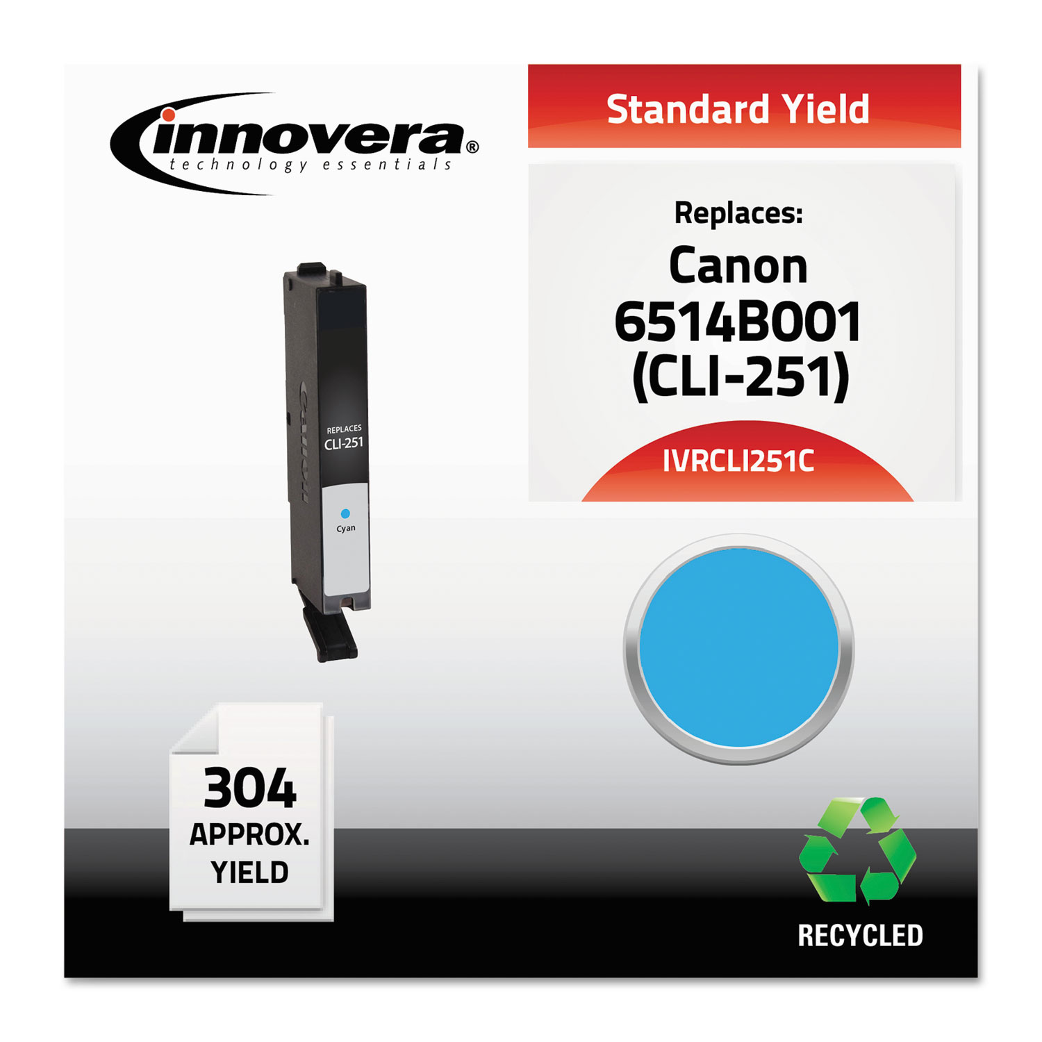 Remanufactured 6514B001 (CLI-251) Ink, 304 Page-Yield, Cyan