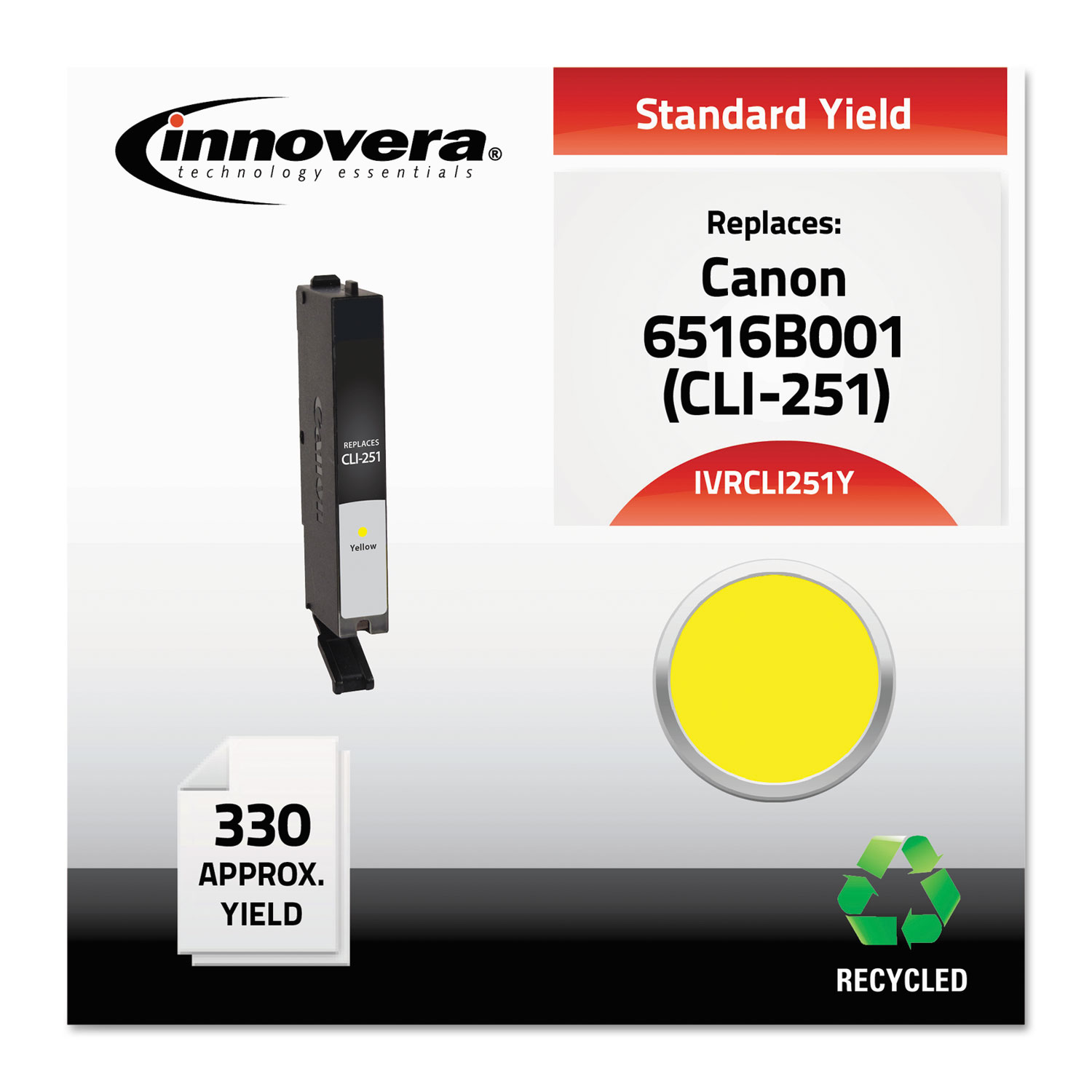 Remanufactured 6516B001 (CLI-251) Ink, 330 Page-Yield, Yellow