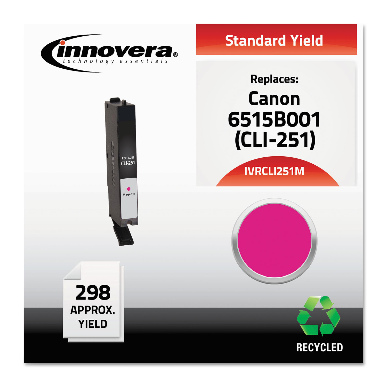 Remanufactured 6515B001 (CLI-251) Ink, 298 Page-Yield, Magenta