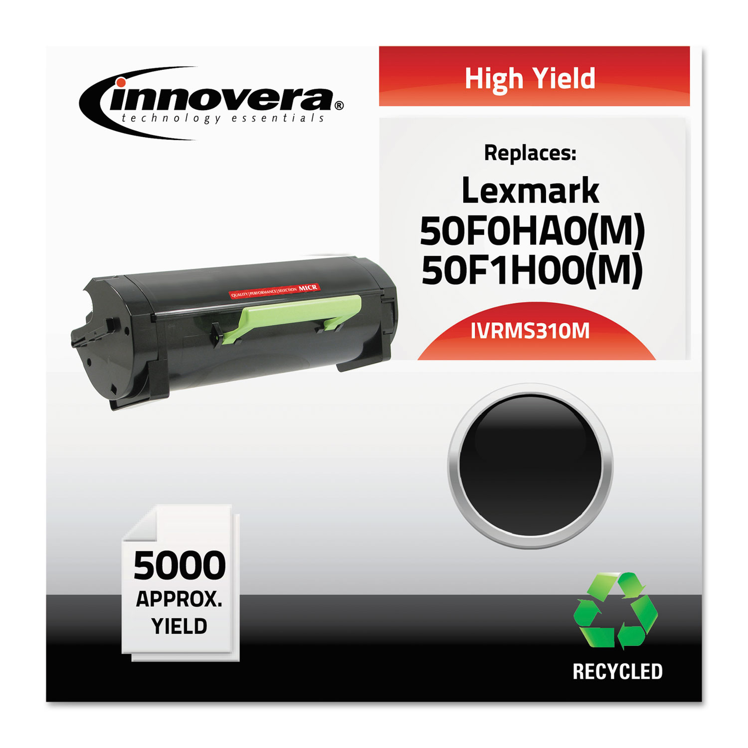 Remanufactured 50F0HA0 (MS310M) High-Yield MICR Toner, 5000 Page-Yield, Black