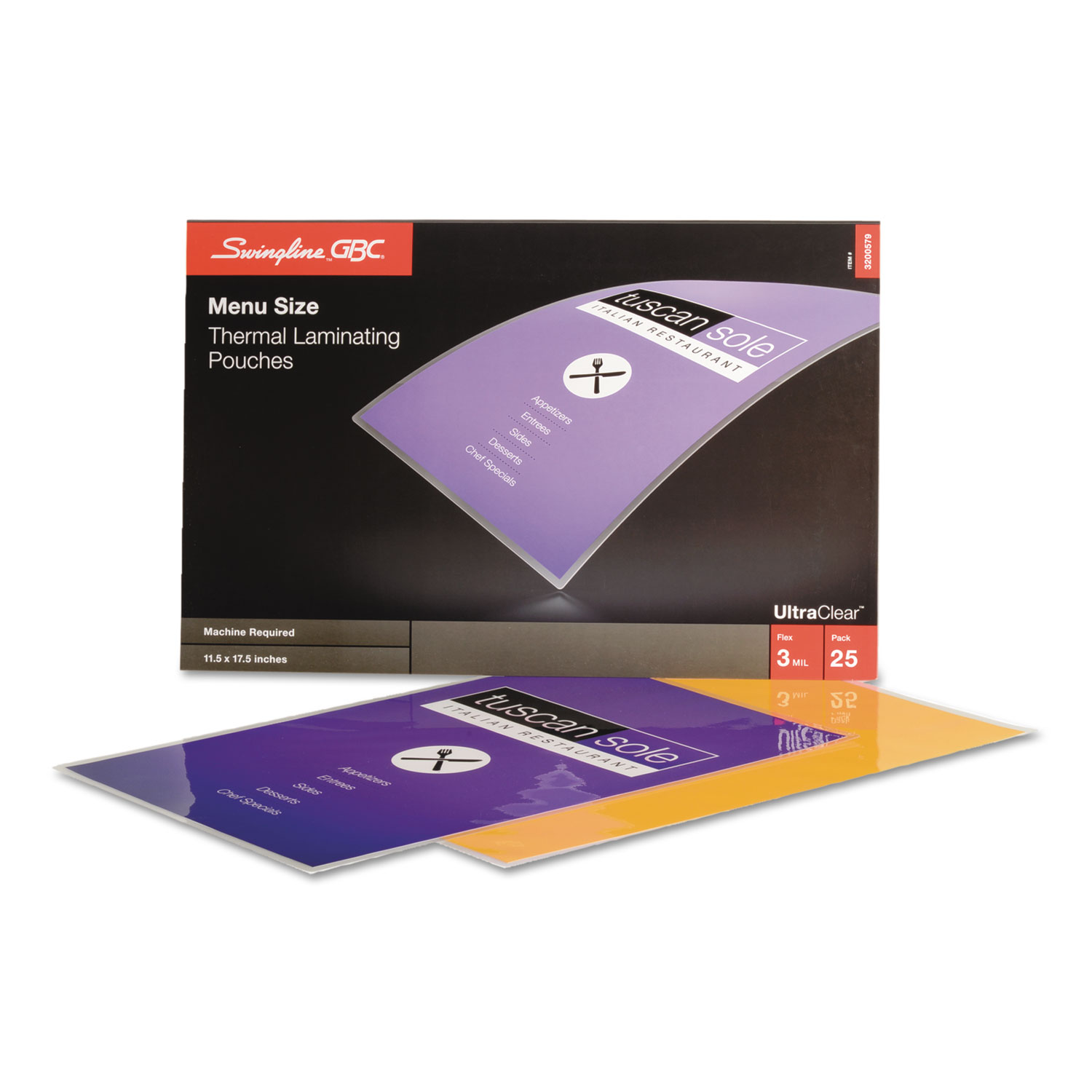 """UltraClear Thermal Laminating Pouches, 3 mil, 11.5"""" x 17.5"""", Gloss Clear, 25/Pack"""