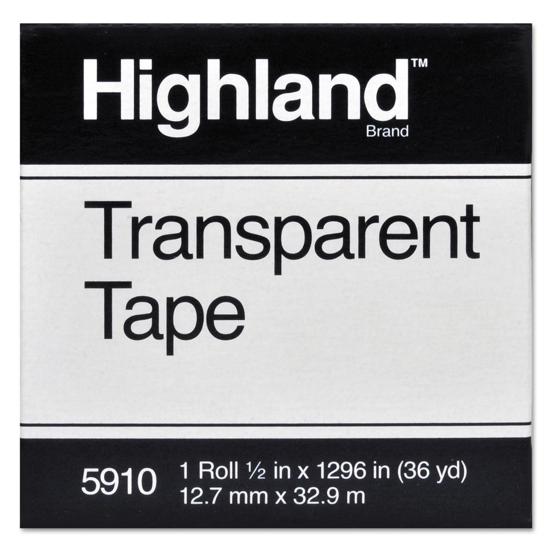 "Transparent Tape, 1"" Core, 0.5"" x 36 yds, Clear"