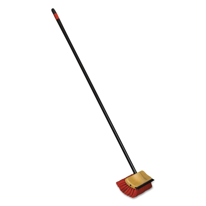 "Bi-Level Floor Scrub Brush, Polypro Bristles, 10"" Block, 54""Handle, Beige/Black"