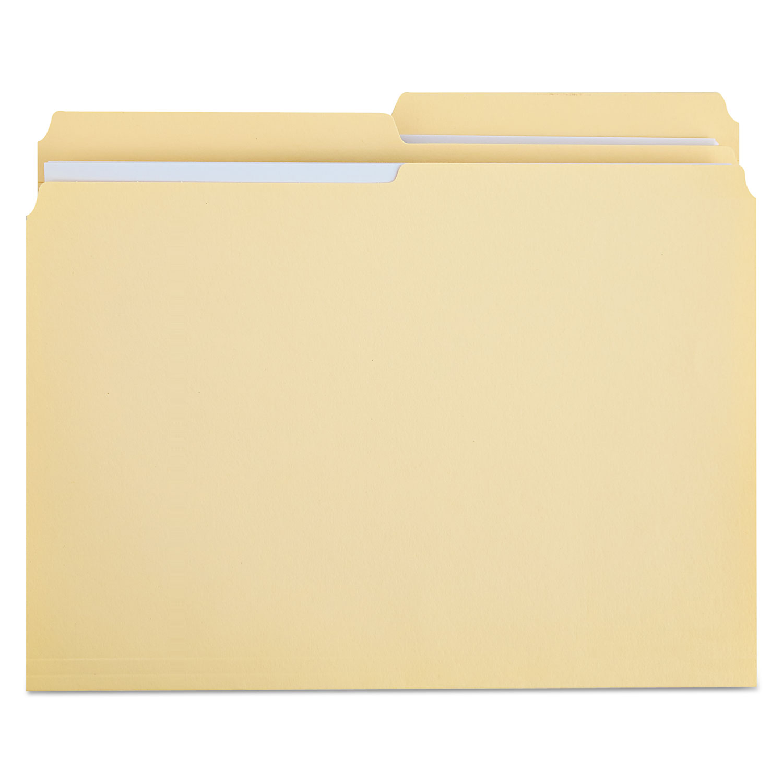 Double-Ply Top Tab Manila File Folders, 1/2-Cut Tabs, Letter Size, 100/Box
