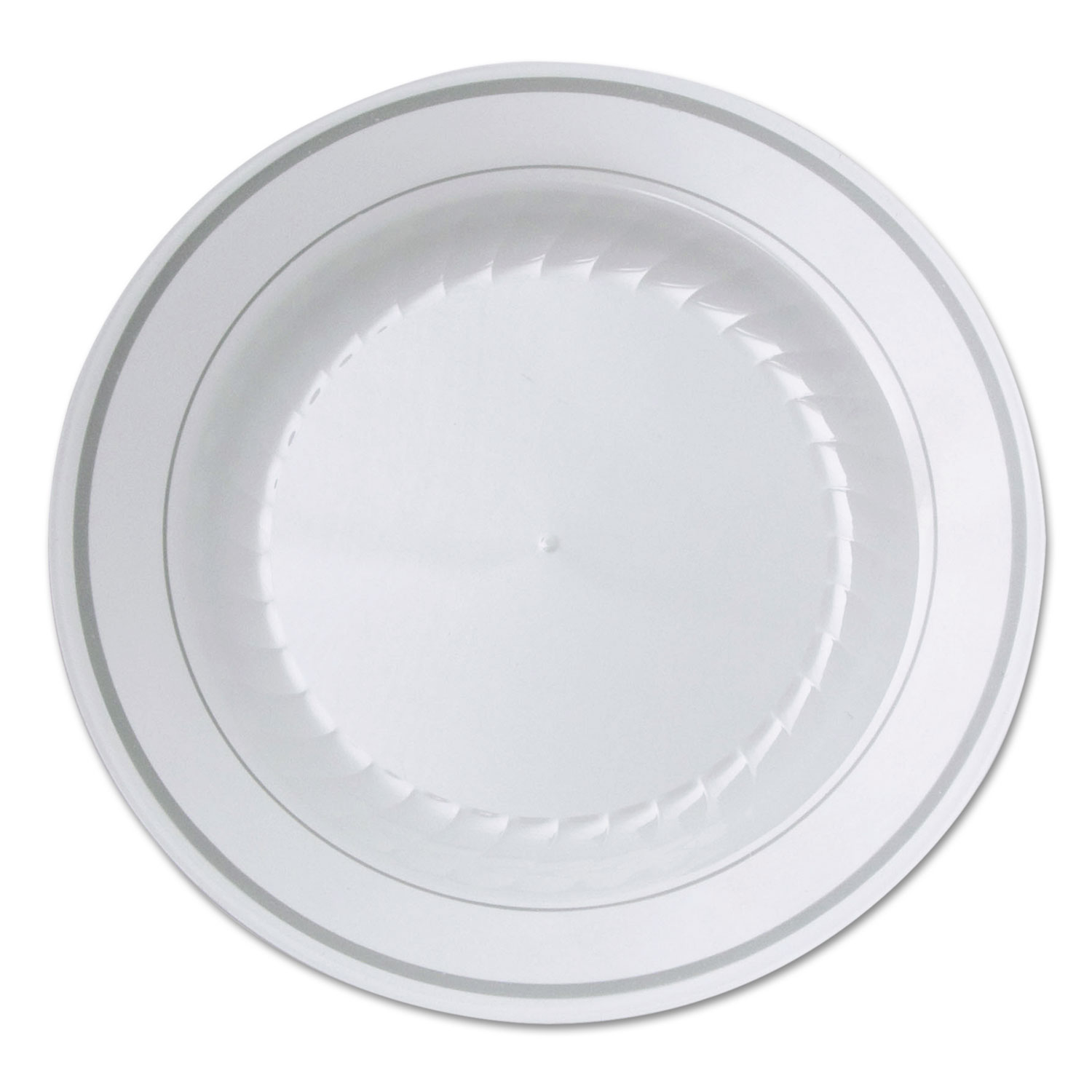 Masterpiece Plastic Plates 6 In White W Silver Accents Round