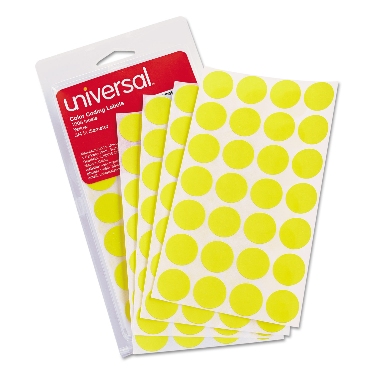 """Self-Adhesive Removable Color-Coding Labels, 0.75"""" dia., Yellow, 28/Sheet, 36 Sheets/Pack"""