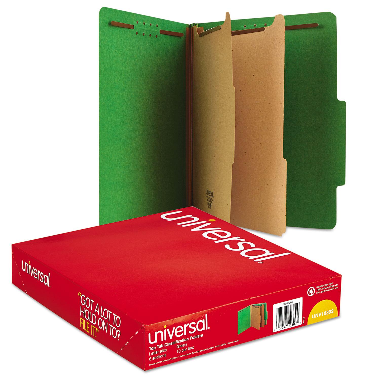 Bright Colored Pressboard Classification Folders, 2 Dividers, Letter Size, Emerald Green, 10/Box