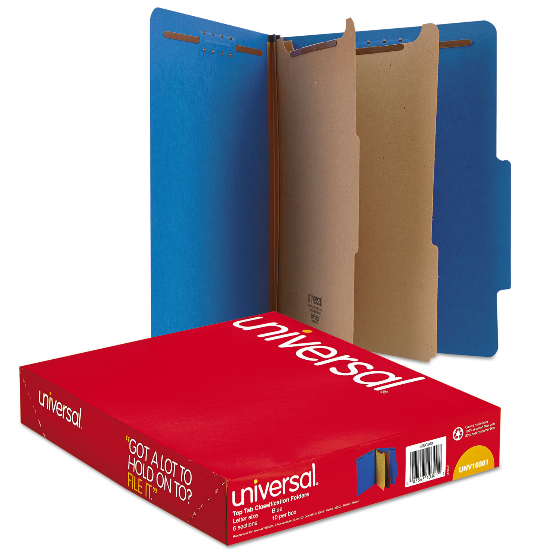 Pressboard Classification Folders, Letter, Six-Section, Cobalt Blue