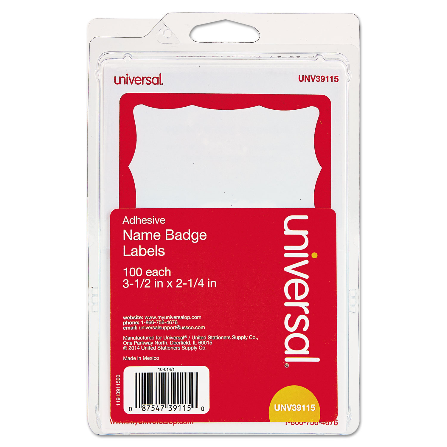 Border-Style Self-Adhesive Name Badges, 3 1/2 x 2 1/4, White/Red, 100/Pack