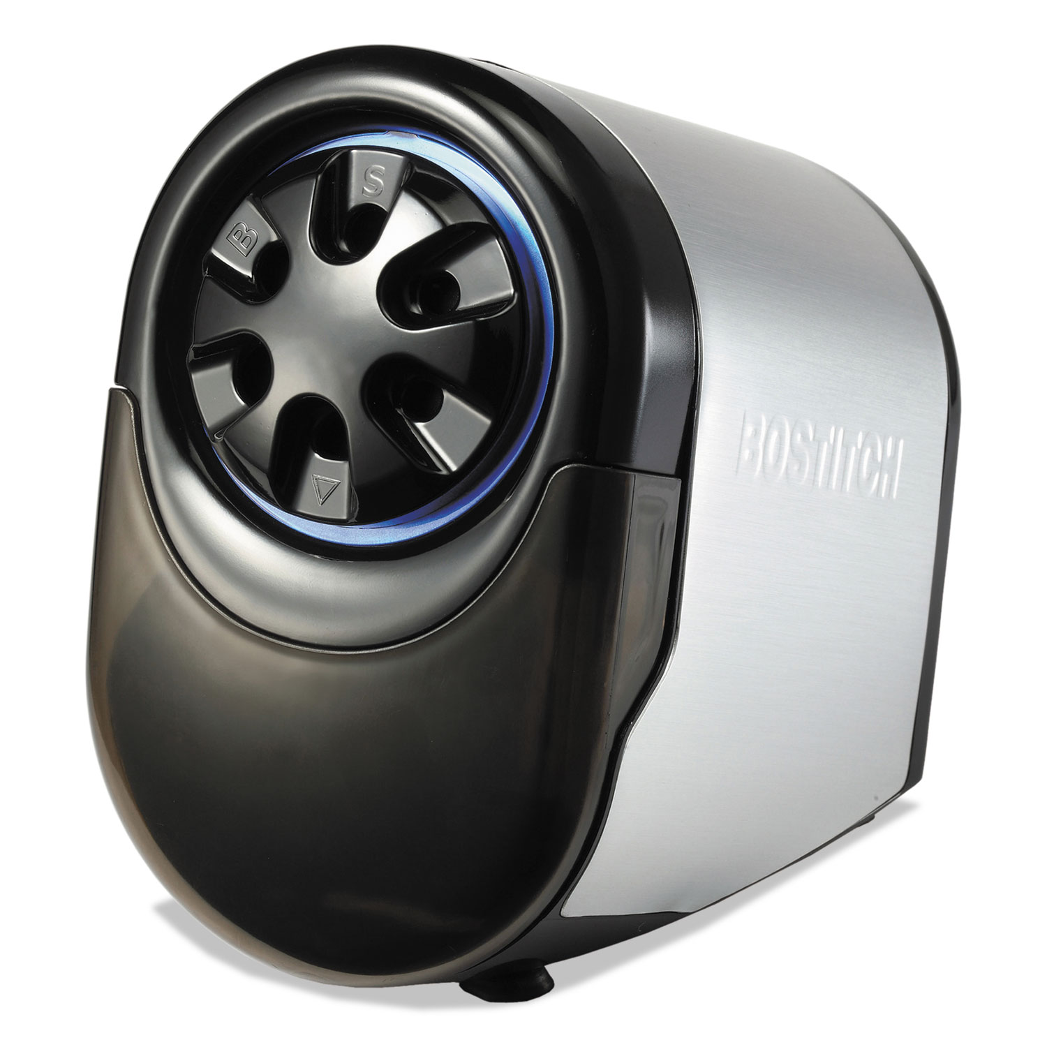 "QuietSharp Glow Classroom Electric Pencil Sharpener, AC-Powered, 6.13"" x 10.69"" x 9"", Silver/Black"