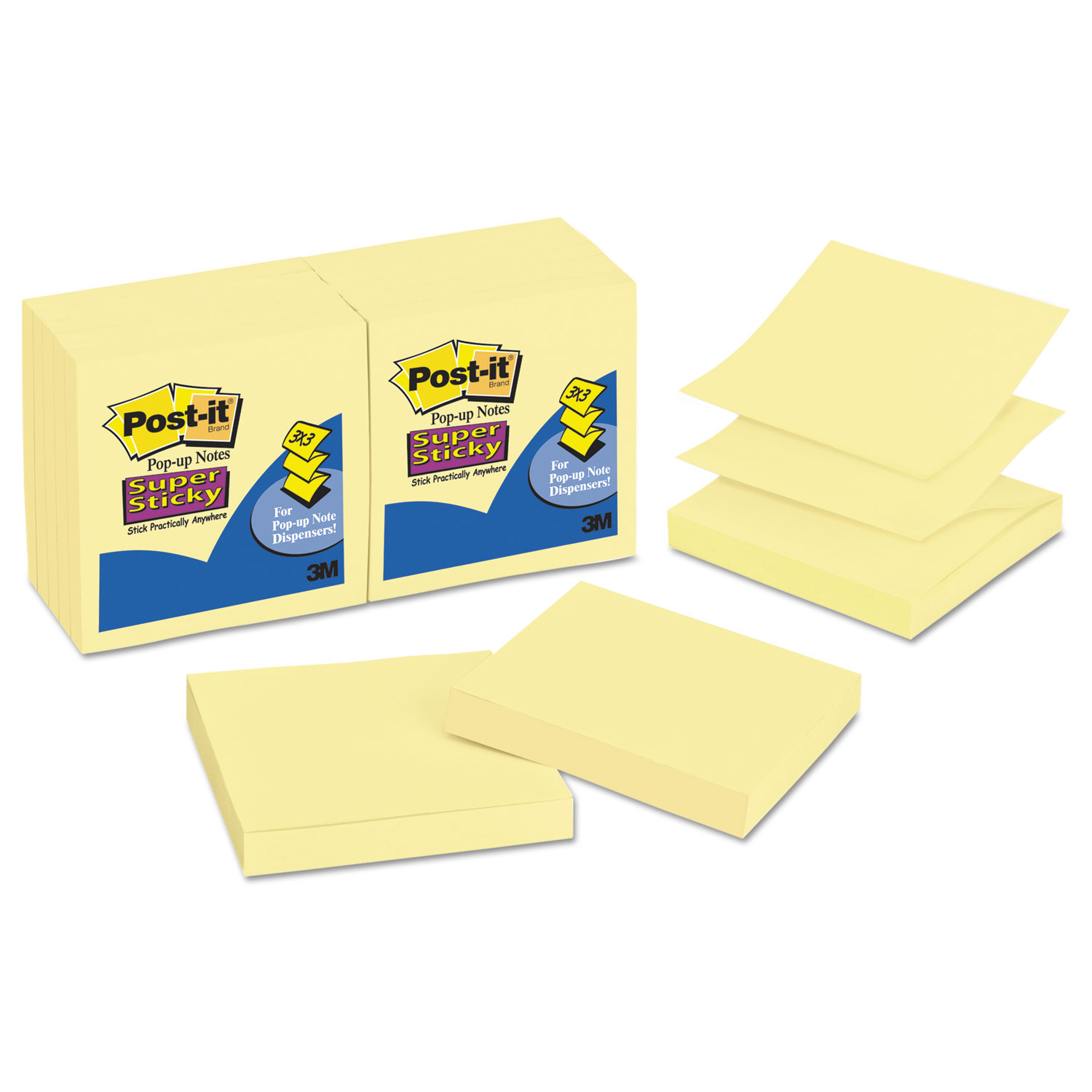 Pop-up 3 x 3 Note Refill, Canary Yellow, 90 Notes/Pad, 12 Pads/Pack