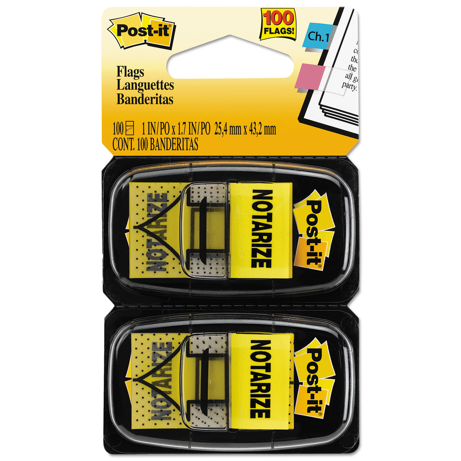 """Arrow Message 1"""" Page Flags, """"Notarize,"""" Yellow, 2 50-Flag Dispensers/Pack"""